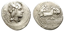 Ancient Coins - ROMAN REPUBLIC. SILVER DENARIUS. IVLIO BURSIO. UNFREQUENT  CARACTERS ON OBV. AND REV.