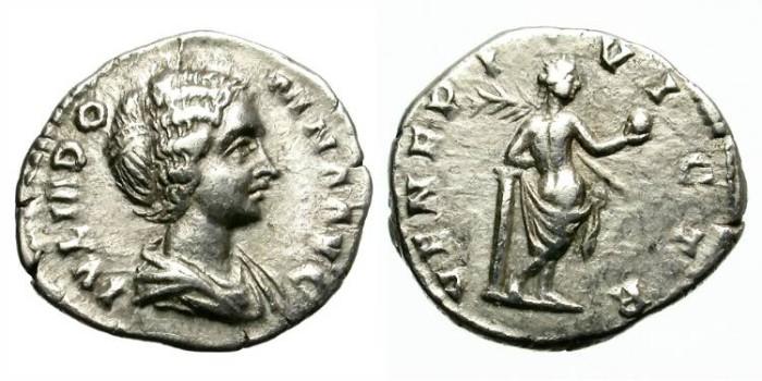 Ancient Coins - JULIA DOMNA. SILVER  DENARIUS. RARE REVERSE WITH VENUS.