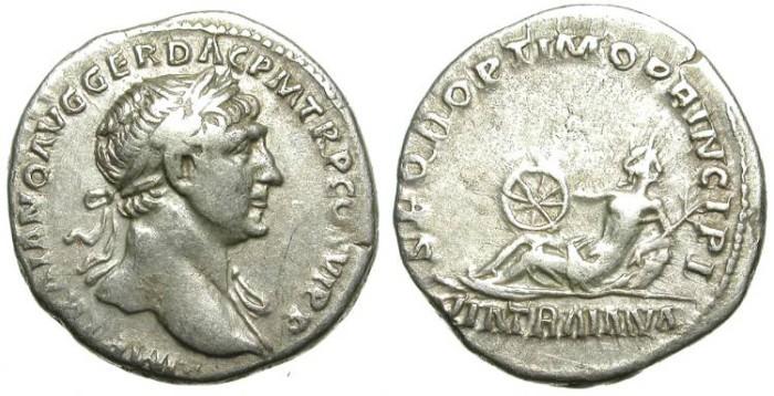 Ancient Coins - TRAIAN. SILVER DENARIUS. PUBLIC WORKS IN THE ROMAN WORLD: VIA TRAIANA