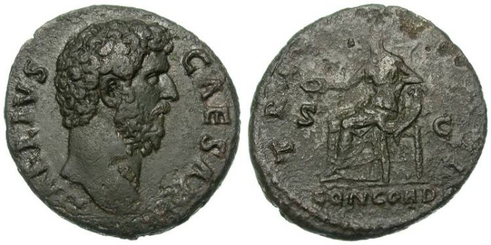 Ancient Coins - AELIUS. AS. ATTRACTIVE DARK GREEN PATINA. RARE AND WITH A NICE PORTRAIT