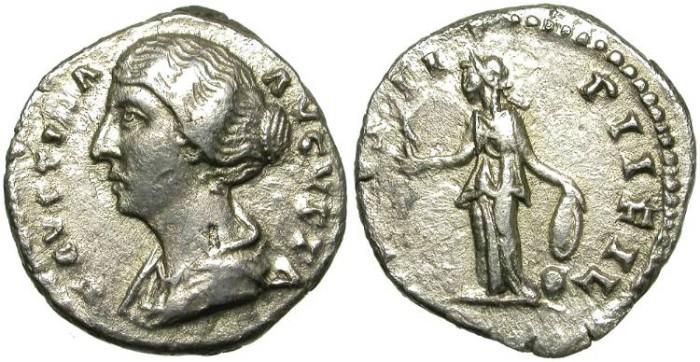 Ancient Coins - FAUSTINA JUNIOR. SILVER DENARIUS. RARE LEFT SIDE PORTRAIT