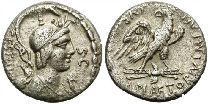 Ancient Coins - ROMAN REPUBLIC.  PLAETORIA-4. BC 57. SILVER DENARIUS. AFFORDABLE.