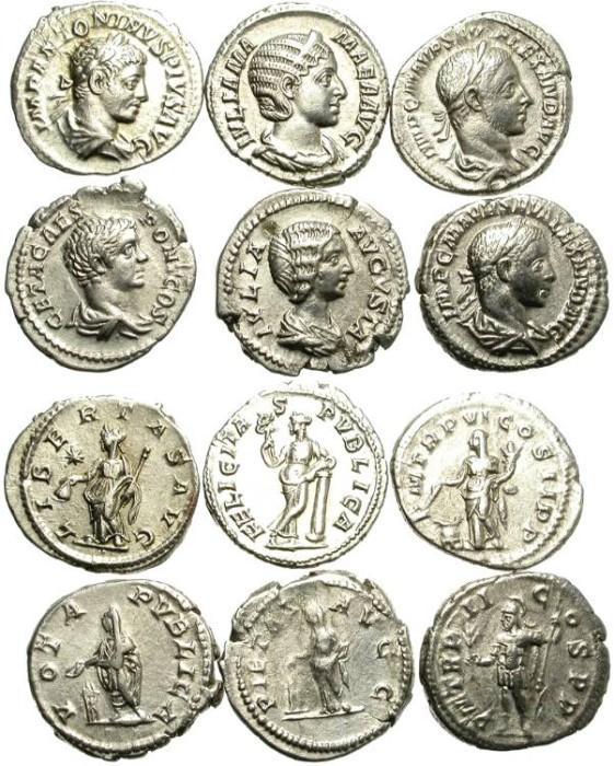 Ancient Coins - LOT OF 6 SILVER ROMAN DENARIUS. NICE CONDITION. 4/9
