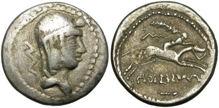 "Ancient Coins - ROMAN REPUBLIC. IMITATIVE DENAR. ""CALPURNIA"". RARE !"