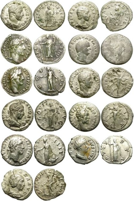 Ancient Coins - LOT OF 11 ROMAN SILVER PIECES. MOSTLY DENARIUS. VERY AFFORDABLE