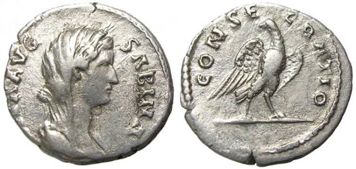 Ancient Coins - DIVA  SABINA  DENARIUS.  VERY  SCARCE.