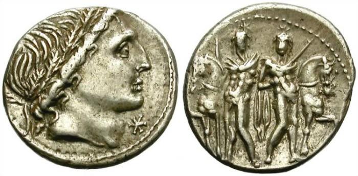 Ancient Coins - ROMAN REPUBLIC. MEMMIA-1 (109-108 BC). AR DENARIUS. NYCELY TONED. GOOD OBVERSE PORTRAITURE.