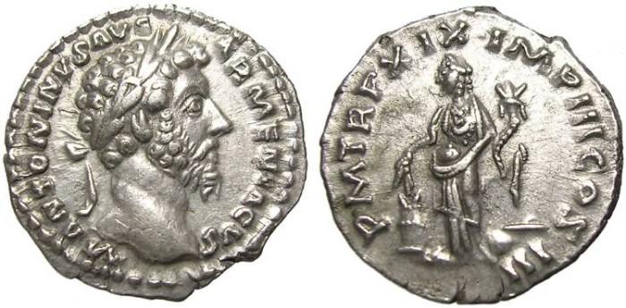 Ancient Coins - MARCUS  AURELIUS  DENARIUS.  GOOD  QUALITY.
