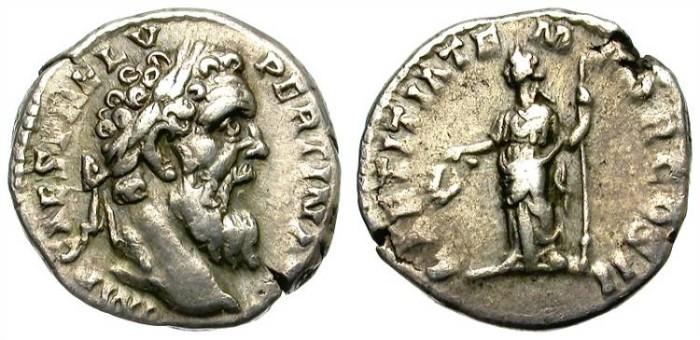 Ancient Coins - PERTINAX, 193 AD. DENARIUS.  RARE AND WITH A NICE PORTRAIT.