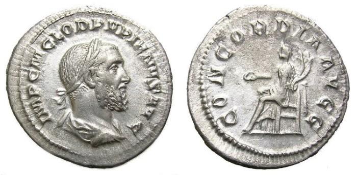 Ancient Coins - PUPIENUS, A. D.  238.  DENARIUS.  ATTRACTIVE  PORTRAIT.