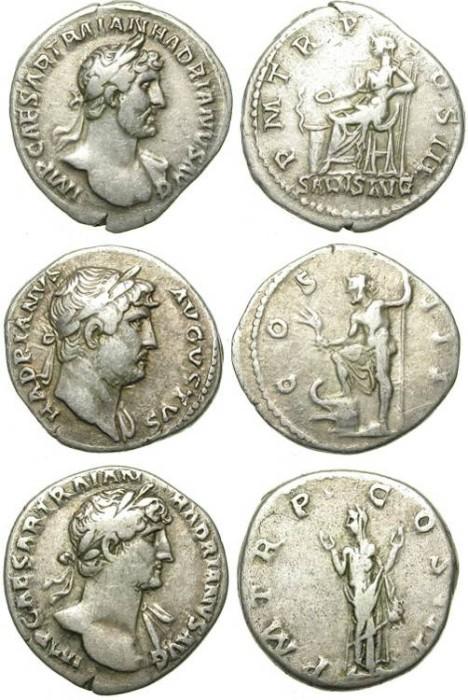 Ancient Coins - LOT OF 3 ROMAN SILVER DENARII. NICE CONDITION. HADRIAN