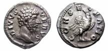 Ancient Coins -  DIVUS LUCIUS VERUS. 161-169 AD. SILVER DENARIUS. CONSECRATIO. SCARCE.