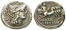Ancient Coins - SENTIA. DENARIUS. ROMAN REPUBLIC. 101 BC. ATTRACTIVE.