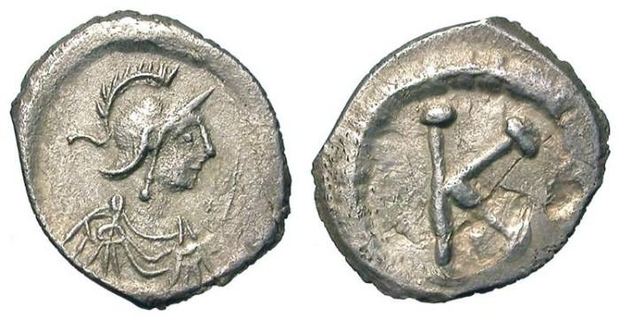 Ancient Coins - AR THIRD SILIQUA. CONSTANTINOPOLIS. RARE AND ATTRACTIVE