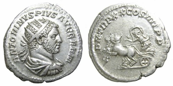 Ancient Coins - CARACALLA  ANTONINIANUS.  INTERESTING  OBVERSE.