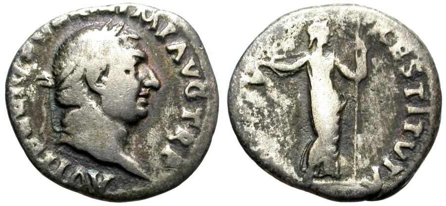 Ancient Coins - VITELLIUS,  AR DENARIUS. ROME. AD 69. INTERESTING EMPEROR