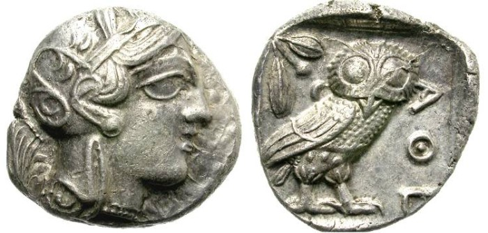 Ancient Coins - ATHENS,  ATTICA.  SILVER TETRADRACHM.  BEAUTIFUL COIN.