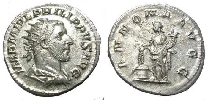 Ancient Coins - PHILIP  I, A. D. 244-249  ANTONINIANUS.  WELL  CENTERED.