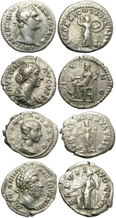 Ancient Coins - INTERESTING LOT OF FOUR SILVER DENARIUS. GOOD OPPORTUNITY.