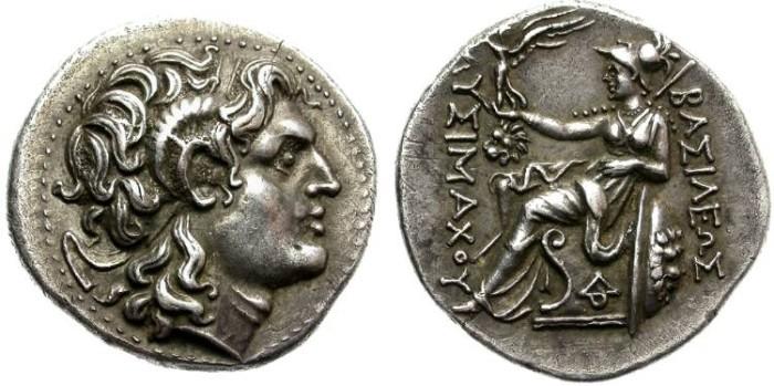 Ancient Coins - LYSIMACHOS. SILVER TETRADRACHM. LYSIMACHEIA (TRACIA)  MINT. FANTASTIC QUALITY !