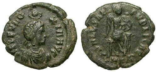Ancient Coins - EUDOXIA. AE FOLLIS. SCARCE EMPRESS. OPPORTUNITY !