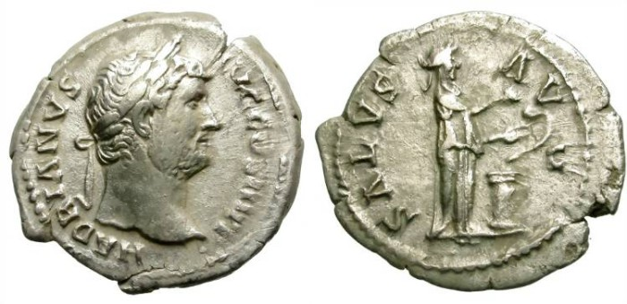 Ancient Coins - HADRIAN. SILVER DENARIUS. SALUS ON REVERSE. AFFORDABLE ISSUE