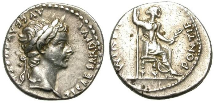 Ancient Coins - TIBERIUS. DENAR. LUGDUNUM. TRIBUTE PENNY. NICE !
