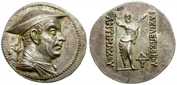 Ancient Coins - ANTIMACHOS I. BAKTRIA. SILVER TETRADRACHM. EXCELLENT PORTRAIT. NICE TONING.
