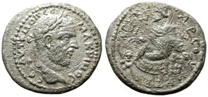 Ancient Coins - MACRINUS. TARSUS. EXTREMELY RARE BILLON DIDRACHM !