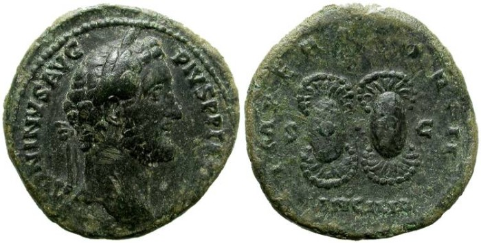 Ancient Coins - ANTONINUS PIO. AS. INTERESTING COIN.