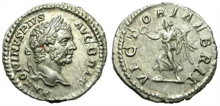Ancient Coins - CARACALLA. DENAR. EF. VICTORIAE BRITANNICAE.