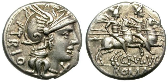 Ancient Coins - ROMAN REPUBLIC. LUCRETIA 1. 136 BC. DENARIUS. NICELY TONED. LUSTROUS.