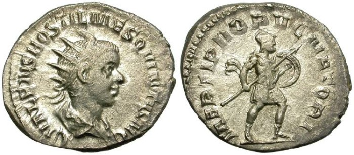 Ancient Coins - HOSTILIAN. SILVER ANTONINIANUS. INTERESTING EMISSION. OPPORTUNITY