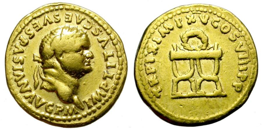 Ancient Coins - TITUS AUGUSTUS,  AD 79 – 81. GOLD AUREUS. ROME. NICE BUST. ESCARCE.