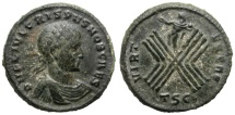 Ancient Coins - CRISPUS. AE FOLLIS. ROMAN CAMP ON REVERSE. SOL ON TOP. VERY RARE. NICE COIN