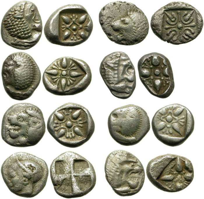 Ancient Coins - LOT OF 8 IONIAN OBOLS. 7 MILET & 1 PHOKAIA. AFFORDABLE !