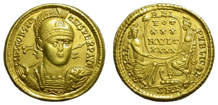 Ancient Coins - CONSTANTIUS II. (337-361)AD. SOLIDUS. NICOMEDIA. SCARCE.