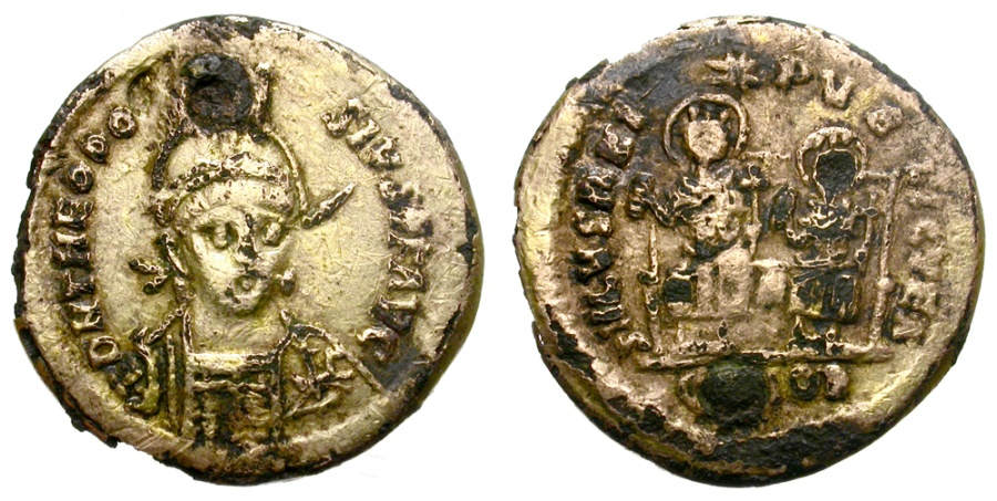 """Ancient Coins - THEODOSIUS II. GILT """"SOLIDUS"""". ANCIENT COUNTERFEIT. RARE AND SO INTERESTING ISSUE"""