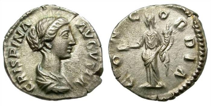 Ancient Coins - CRISPINA.  AD 178-182.  AR DENARIUS. ROME MINT. VERY NICE BUST.