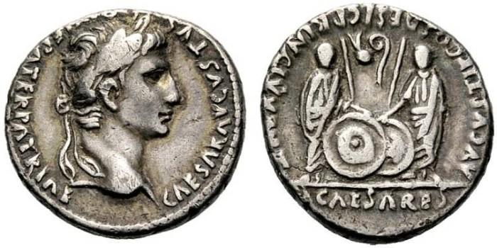 Ancient Coins - AUGUSTUS. SILVER DENARIUS. LUGDUNUM. CAYO & LUCIO CAESARES. GOOD ISSUE
