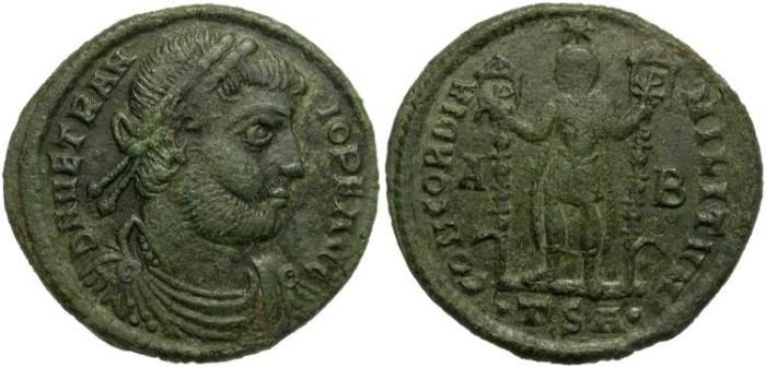 Ancient Coins - VETRANIO.  MAIORINA.  THESSALONICA. SCARCE.  BEAUTIFUL PORTRAIT.