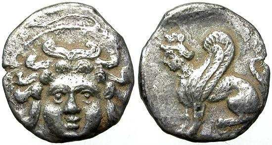Ancient Coins - CILICIA. OBOL. UNATTRIBUTED MINT. GORGON AND SPHINX. RARE & NICE.