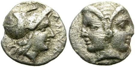 Ancient Coins - LAMPSAKOS, MYSIA. DIOBOL. ATHENA & JANUS. AFFORDABLE