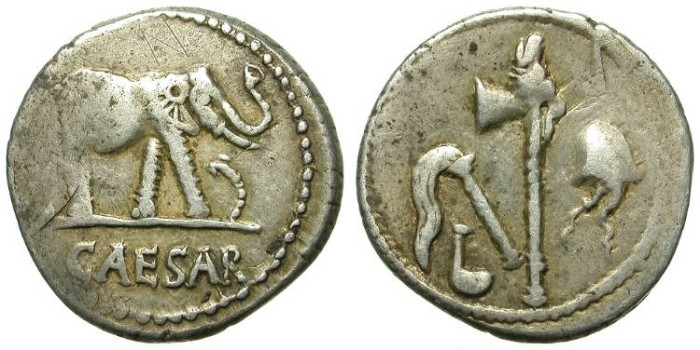 Ancient Coins - IULIUS CAESAR. SILVER DENAR. ELEPHANT. EMBLEMATIC AND AFFORDABLE  !