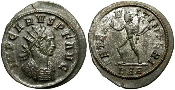 Ancient Coins - CARUS.  AE ANTONINIANUS.  ROME  MINT.  SOME  ORIGINAL  SILVERING. NICE  PORTRAIT.