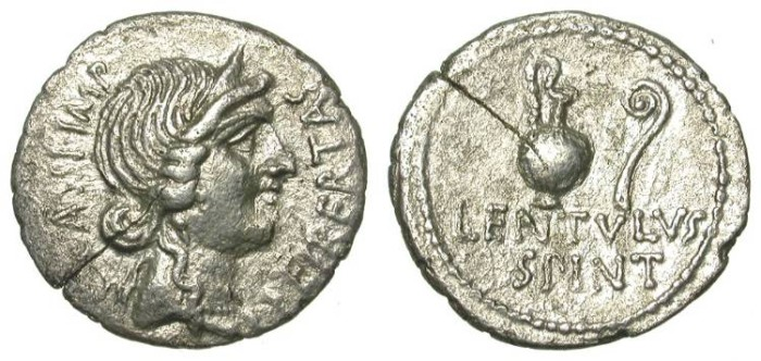 Ancient Coins - FILLING THE HOLE: CASSIUS. DENAR. RARE & EMBLEMATIC PIECE FROM ONE OF CAESAR´S ASSASSINS