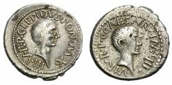 Ancient Coins - LEPIDUS AND OCTAVIAN. 42 BC. SILVER DENARIUS. ATTRACTIVE AND RARE DENARIUS.