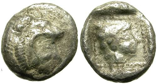 Ancient Coins - KNIDOS, CARIA. SILVER OBOL. INTERESTING FRACTION