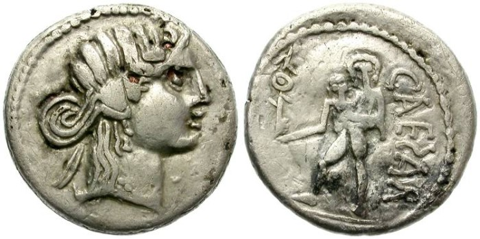 "Ancient Coins - JULIUS CAESAR. SILVER FOUREE ""DENARIUS"". BARBARIC IMITATION WITH A STRONG CHARACTER!"