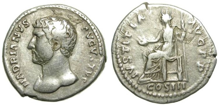 Ancient Coins - HADRIAN. SILVER DENARIUS. VERY RARE LEFT SIDE PORTRAIT !